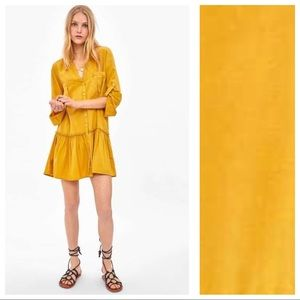 NWT. Zara Mustard Mini Shirt Dress. Size XS.